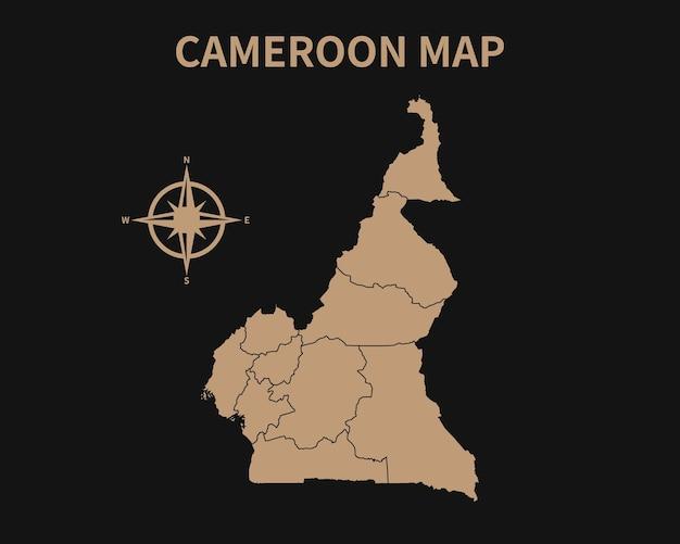Detaillierte alte vintage karte von kamerun mit kompass und regionsgrenze isoliert auf dunklem hintergrund