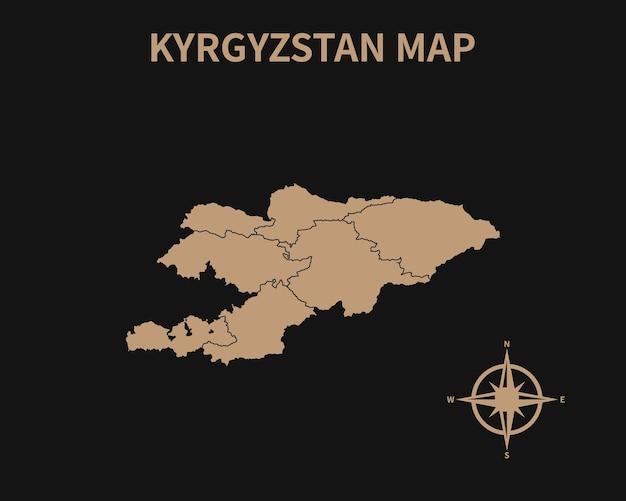 Detaillierte alte vintage karte von kirgisistan mit kompass und regionsgrenze isoliert auf dunklem hintergrund