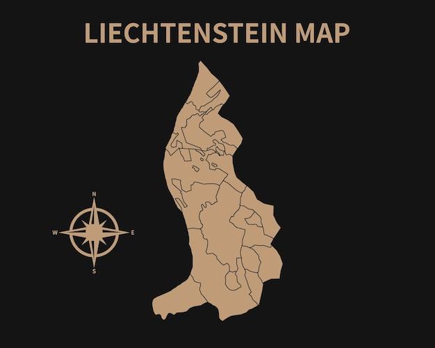 Detaillierte alte vintage karte von liechtenstein mit kompass und regionsgrenze isoliert auf dunklem hintergrund
