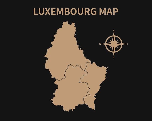 Detaillierte alte vintage karte von luxemburg mit kompass und regionsgrenze auf dunklem hintergrund isoliert