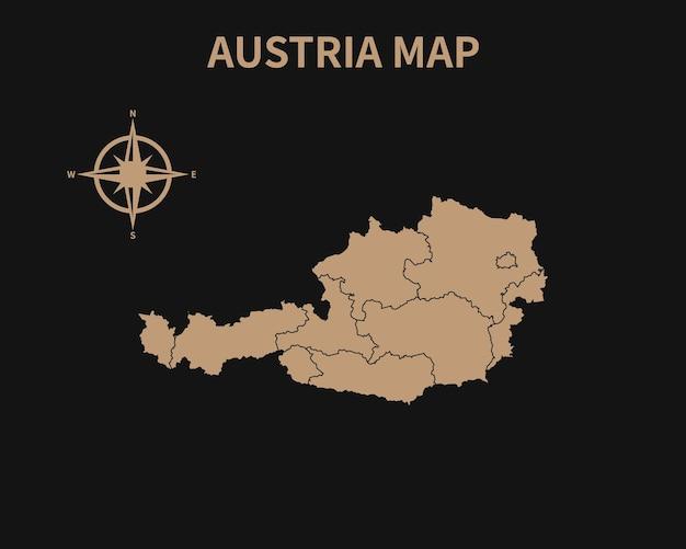Detaillierte alte vintage karte von österreich mit kompass und regionsgrenze isoliert auf dunklem hintergrund