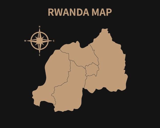Detaillierte alte vintage karte von ruanda mit kompass und regionsgrenze isoliert auf dunklem hintergrund
