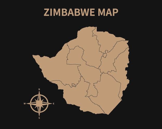 Detaillierte alte vintage karte von simbabwe mit kompass und regionsgrenze isoliert auf dunklem hintergrund