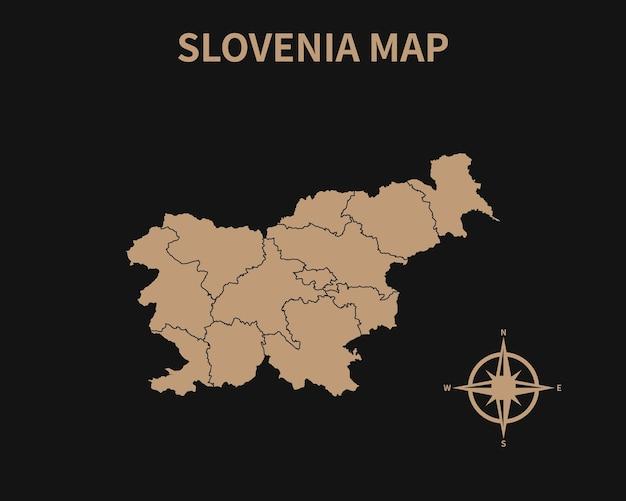 Detaillierte alte vintage karte von slowenien mit kompass und regionsgrenze auf dunklem hintergrund isoliert