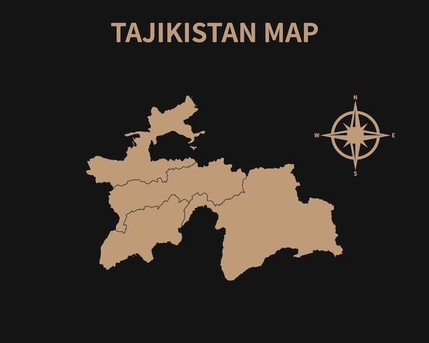 Detaillierte alte vintage karte von tadschikistan mit kompass und regionsgrenze isoliert auf dunklem hintergrund