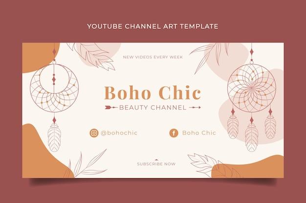 Detaillierte boho-youtube-kanal-art-vorlage