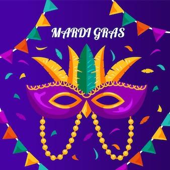 Detaillierte bunte karnevalmaske des flachen entwurfs