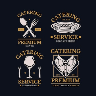 Detaillierte catering-logo-kollektion