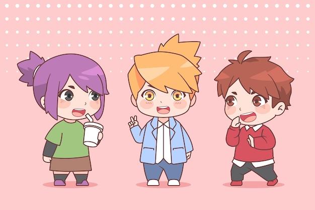 Detaillierte chibi-anime-charaktere