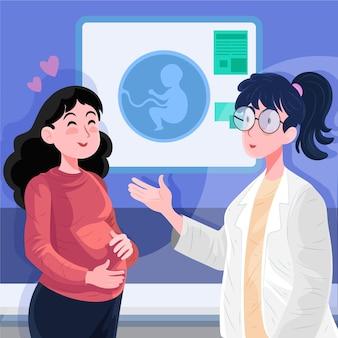 Detaillierte dia internacional de la geburtshilfe y la embarazada illustration