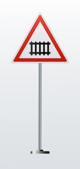 Detaillierte eisenbahnwarnschilder isoliert