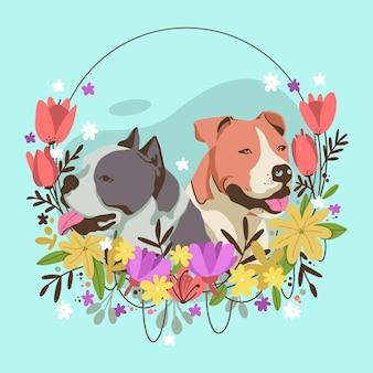Detaillierte entzückende pitbull-illustration