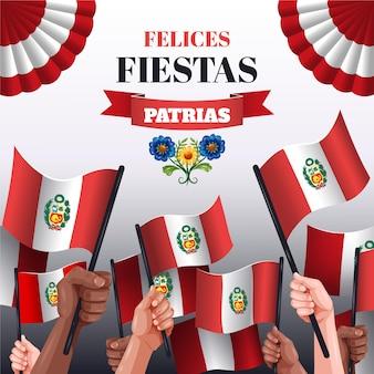 Detaillierte fiestas patrias de peru illustration