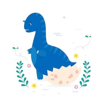 Detaillierte flache design baby dinosaurier