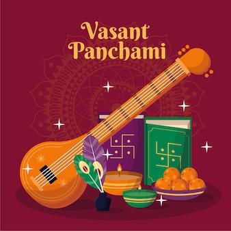 Detaillierte flache design vasant panchami