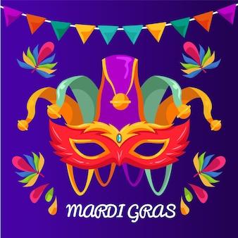 Detaillierte flache karneval bunte maske