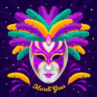 Detaillierte flache karnevalmaske