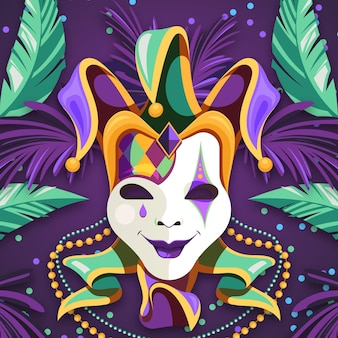 Detaillierte flache karnevalschablone