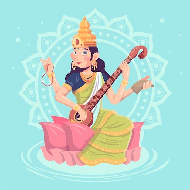 Detaillierte flache saraswati