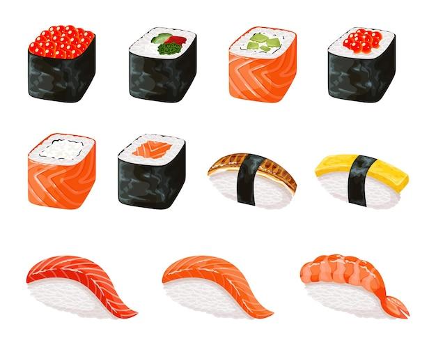 Detaillierte fotorealistische menge der sushi-rollenikonen. realistisches sushi-set. japanische küche, traditionelles essen.