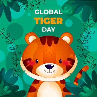 Detaillierte globale tiger-tagesillustration
