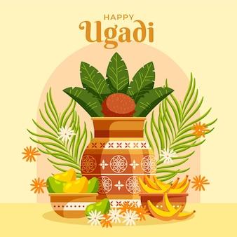 Detaillierte glückliche ugadi illustration