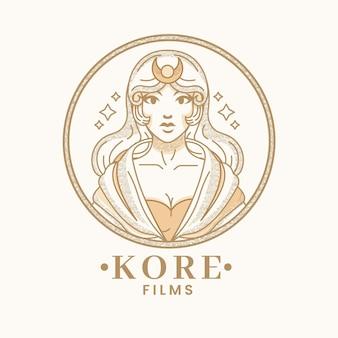 Detaillierte göttin logo vorlage