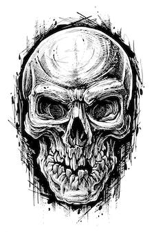 Detaillierte grafische menschliche schädel-trash-polka-linienkunst
