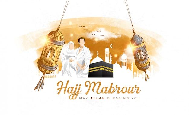 Detaillierte handgezeichnete skizze von hajj mabrour mit kaaba, mann und frau hajj charakter