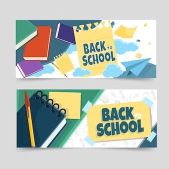 Detaillierte horizontale banner zurück zu schule gesetzt