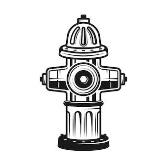 Detaillierte illustration des hydranten im monochromen weinlesestil