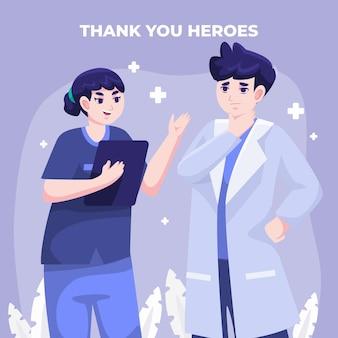 Detaillierte illustration von ärzten und krankenschwestern