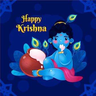 Detaillierte illustration von baby krishna, die butter isst