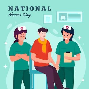 Detaillierte illustration zum tag der nationalen krankenschwestern