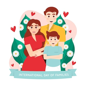 Detaillierte internationale tag der familienillustration
