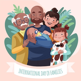 Detaillierte internationale tag der familienillustration