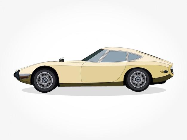 Detaillierte karosserie und felgen des gelben autos
