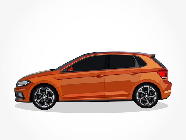Detaillierte karosserie und felgen des orangefarbenen autos