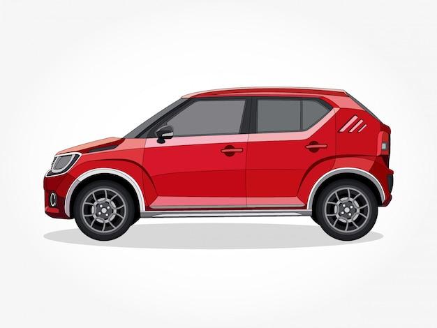 Detaillierte karosserie und felgen des roten autos