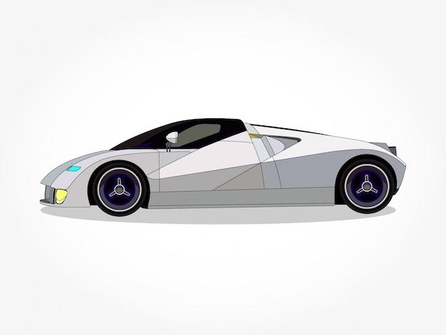 Detaillierte karosserie und felgen des weißen autos