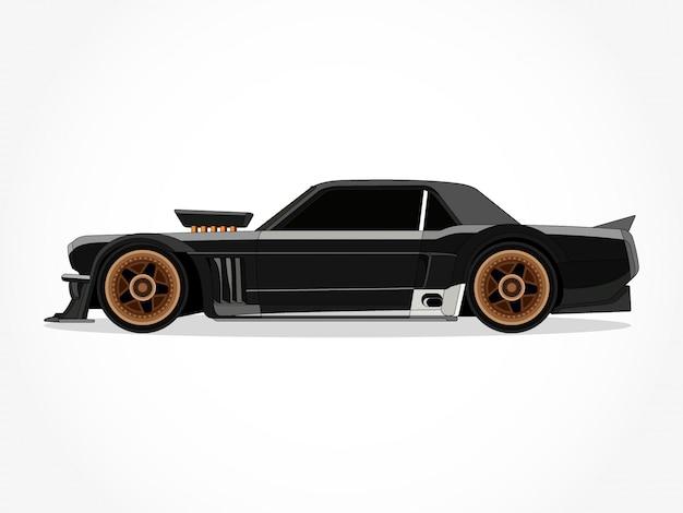Detaillierte karosserie und felgen einer flachen farbigen auto-cartoon-vektor-illustration mit schwarzem schlaganfall und schatteneffekt
