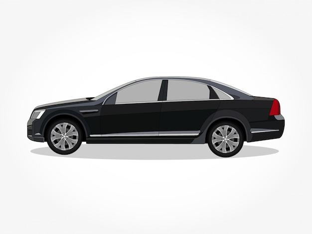 Detaillierte karosserie und felgen einer flachen farbigen auto-cartoon