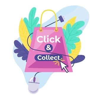 Detaillierte klick- und sammelzeichen