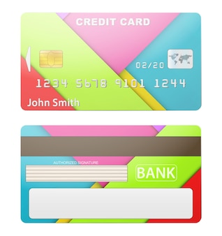 Detaillierte kreditkarte. zwei seiten. isoliert