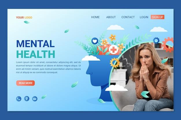 Detaillierte landingpage für psychische gesundheit mit foto