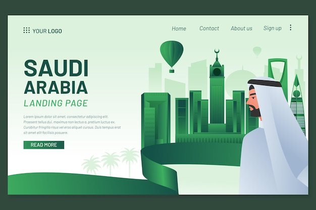 Detaillierte landingpage-vorlage für den saudischen nationalfeiertag