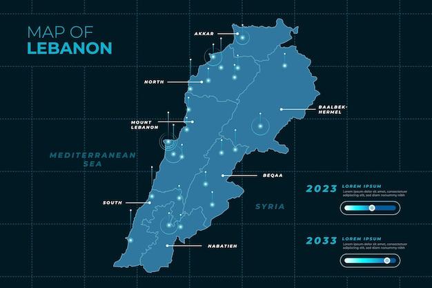 Detaillierte libanon-karte mit farbverlauf