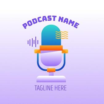 Detaillierte logo-vorlage für den podcast-namen