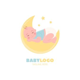 Detaillierte logo-vorlage mit schlafendem baby