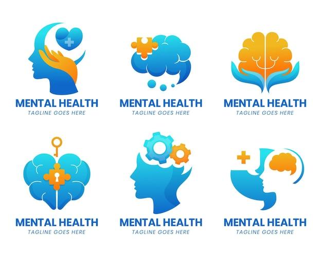 Detaillierte logos für psychische gesundheit